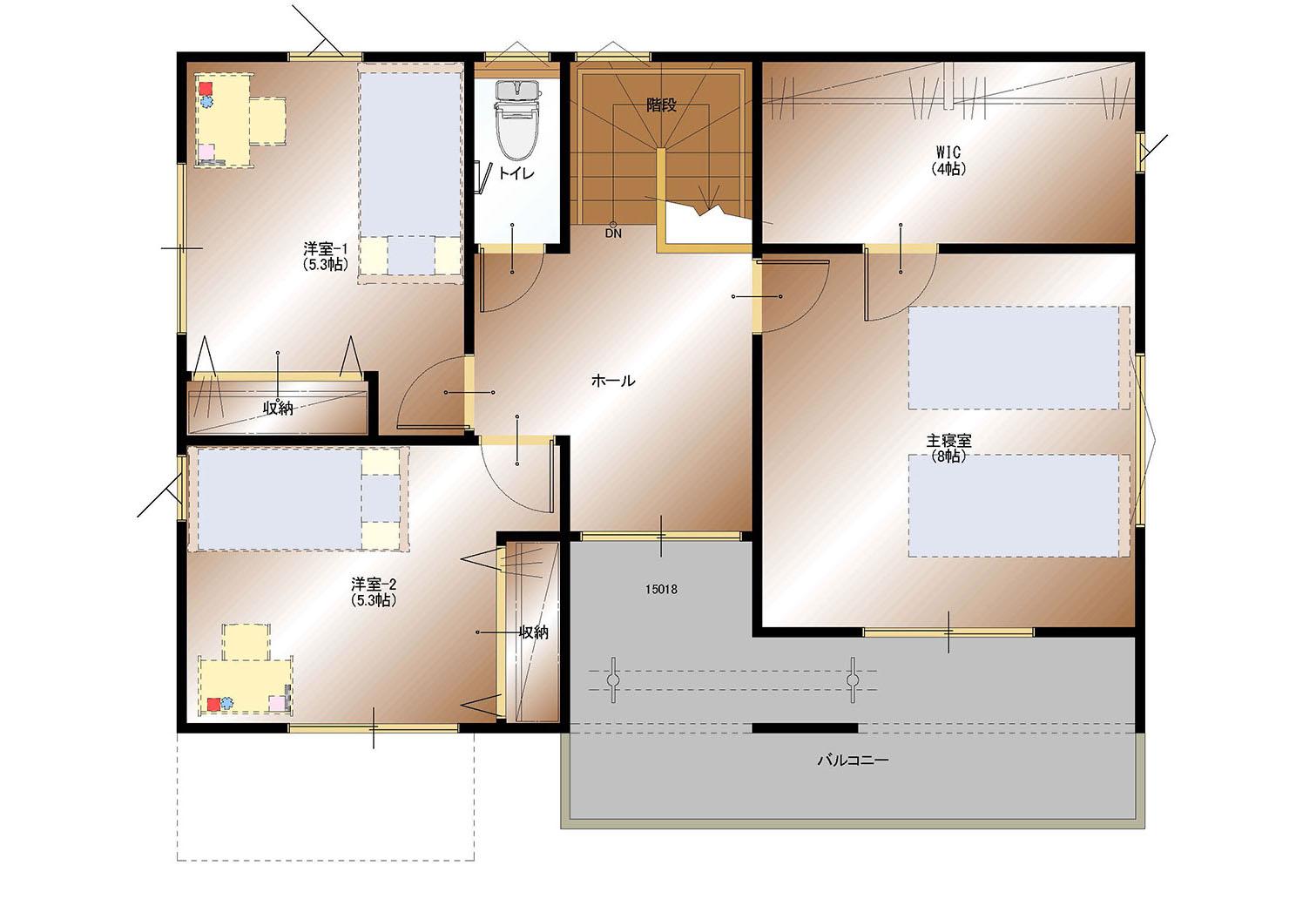 甲斐市龍地B35号棟 建売住宅 間取り図2F