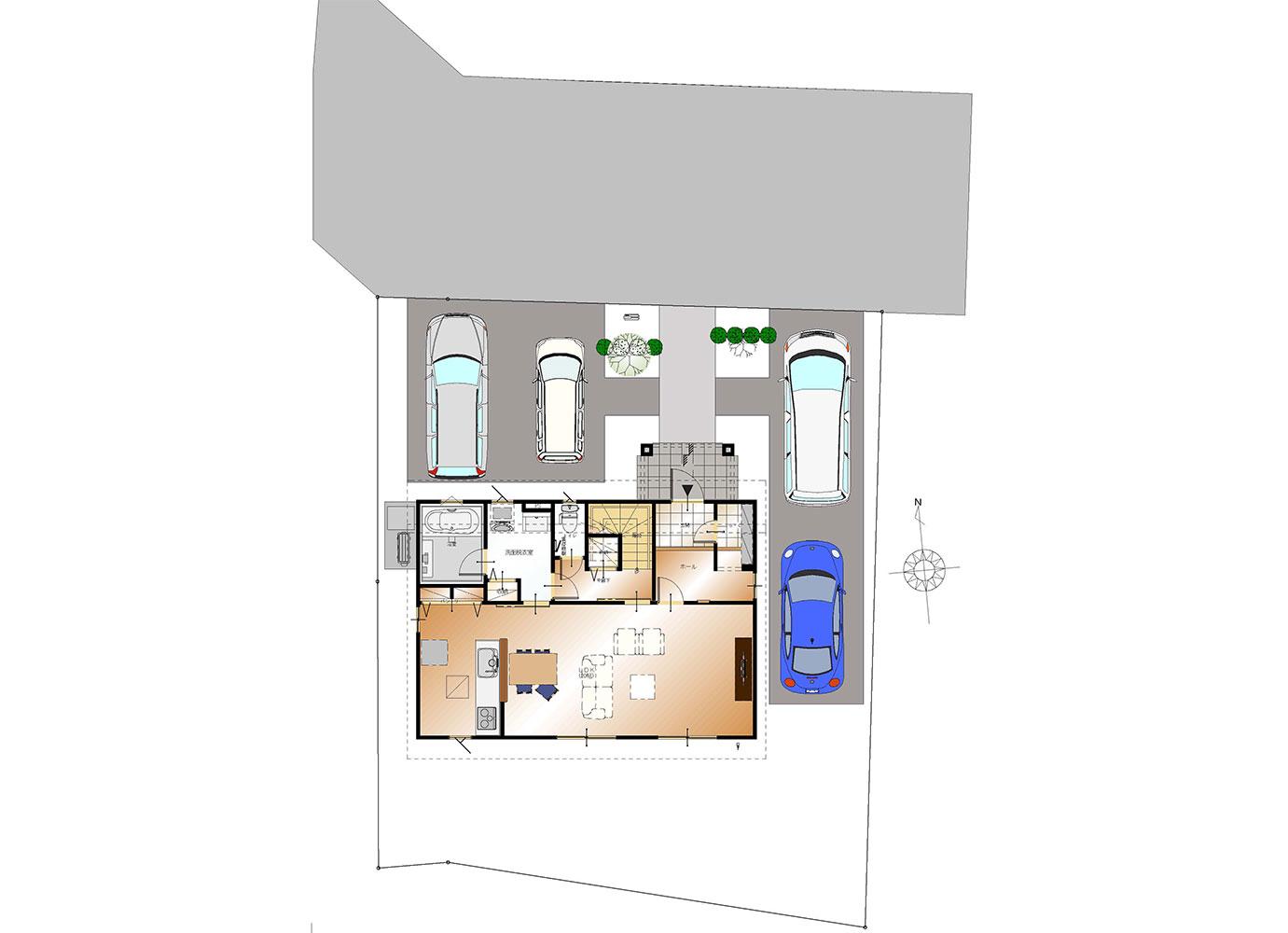 甲斐市下今井E39号棟 建売住宅 配置図