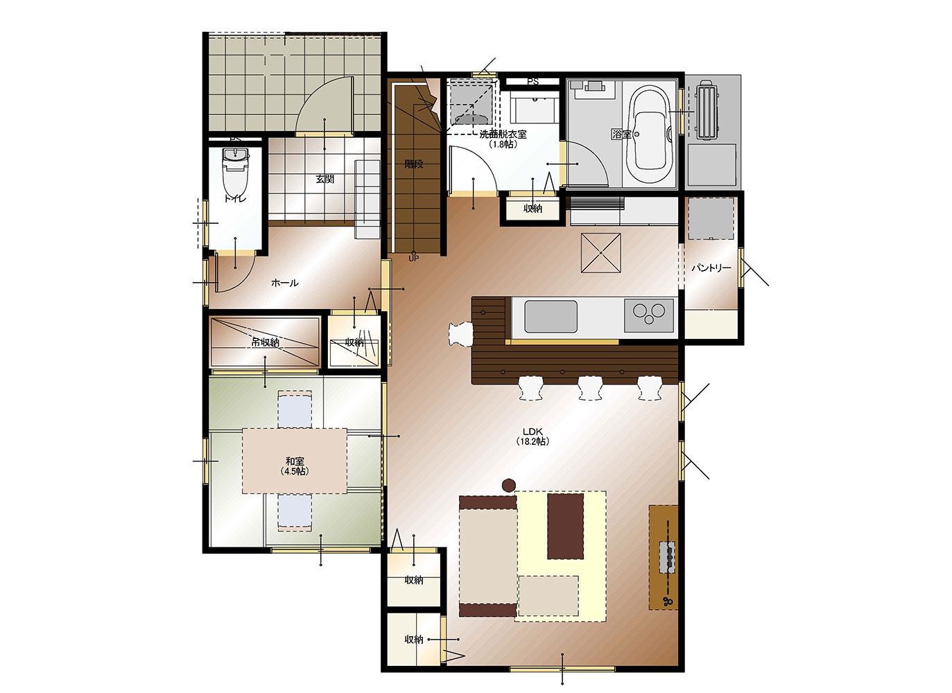 甲府市上今井町B13号棟 建売住宅 平面図1F