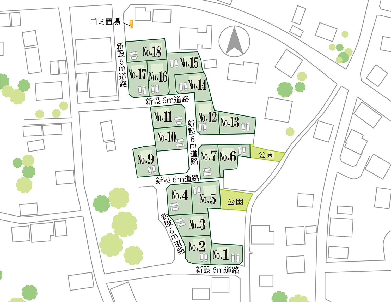 南アルプス市土地 加々美J 分譲地 区画図