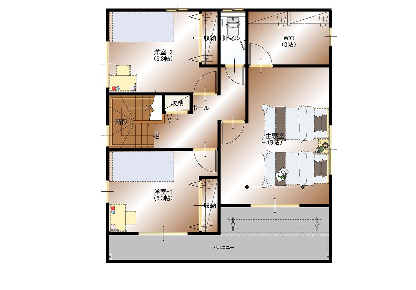 甲斐市下今井D1号棟 建売住宅 平面図2F