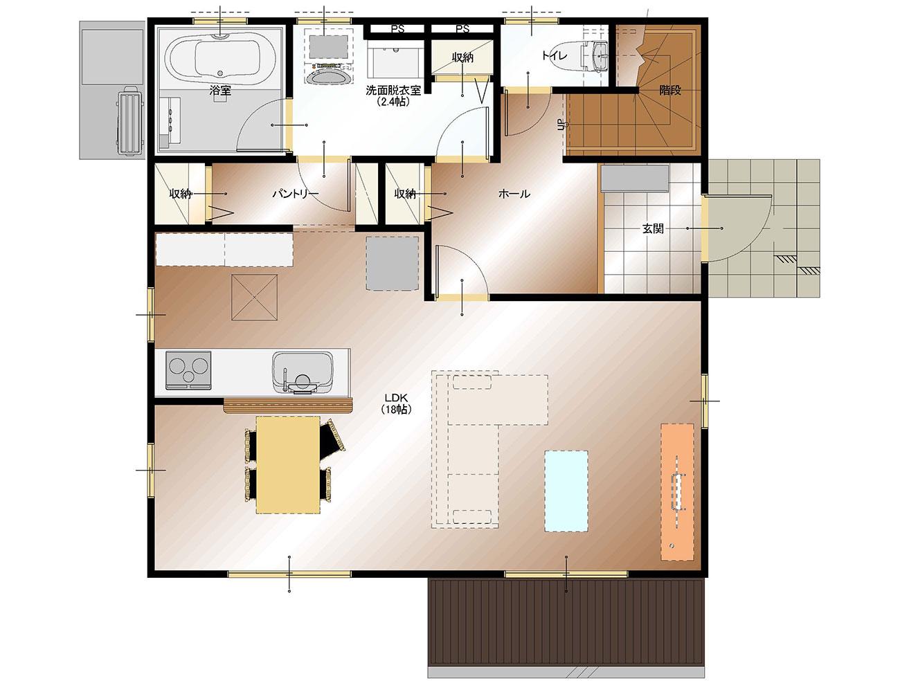 南アルプス市飯野E9号棟 建売住宅 間取り図1F