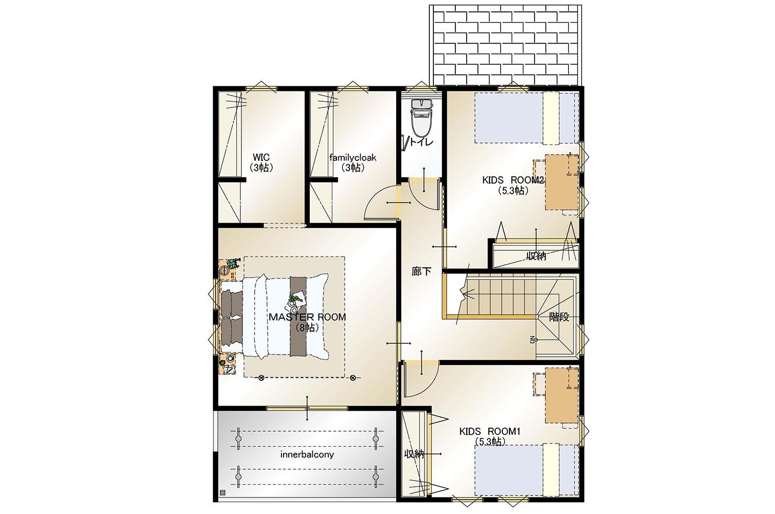 甲斐市下今井E28号棟 建売住宅 平面図2F