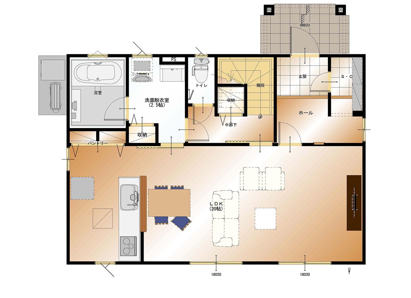 甲斐市下今井E39号棟 建売住宅 平面図1F
