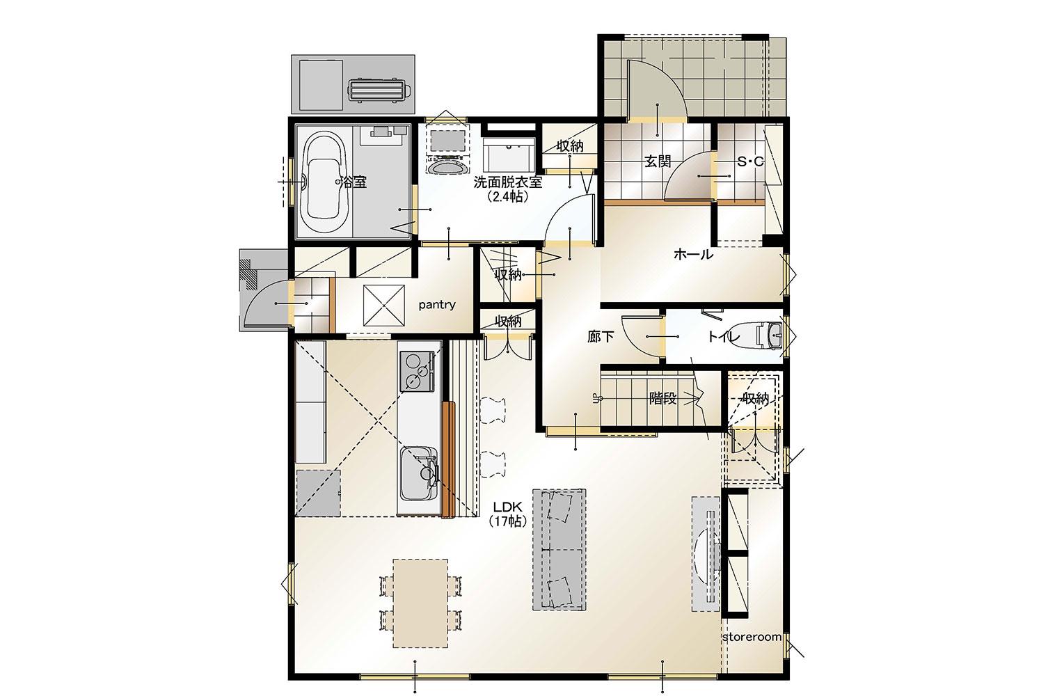 甲斐市下今井E28号棟 建売住宅 平面図1F