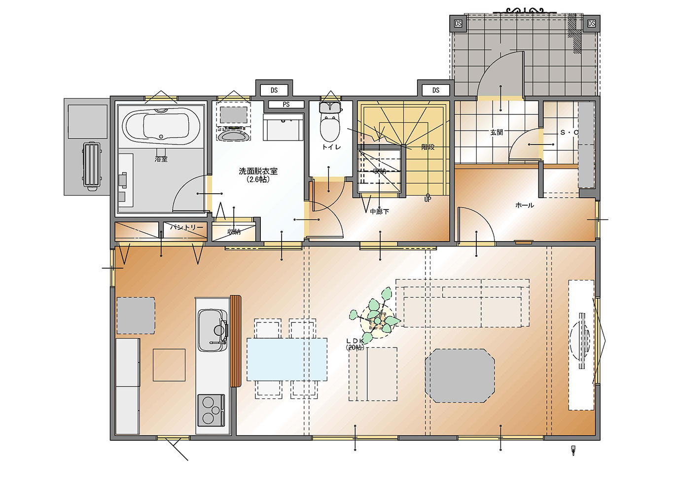 甲府市上今井町B14号棟 建売住宅 平面図1F