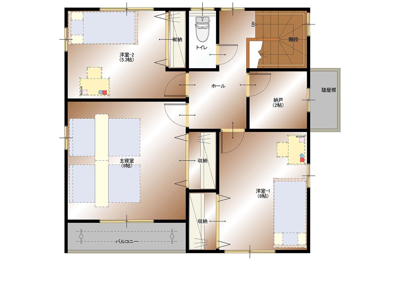 南アルプス市飯野E9号棟 建売住宅 間取り図2F