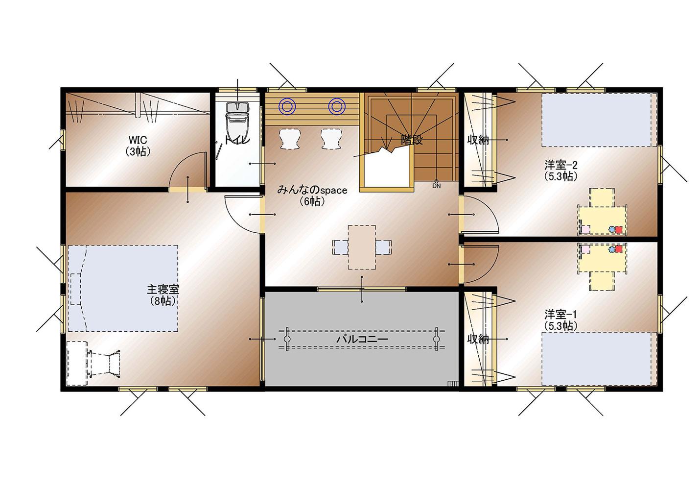 甲斐市下今井E29号棟 建売住宅 平面図2F