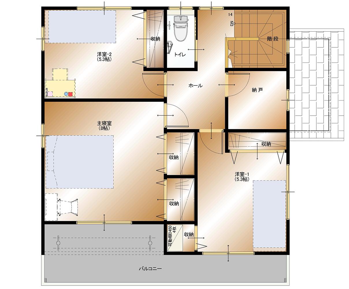 山梨 不動産 建売住宅 甲斐市下今井E38号棟 2F 間取り図