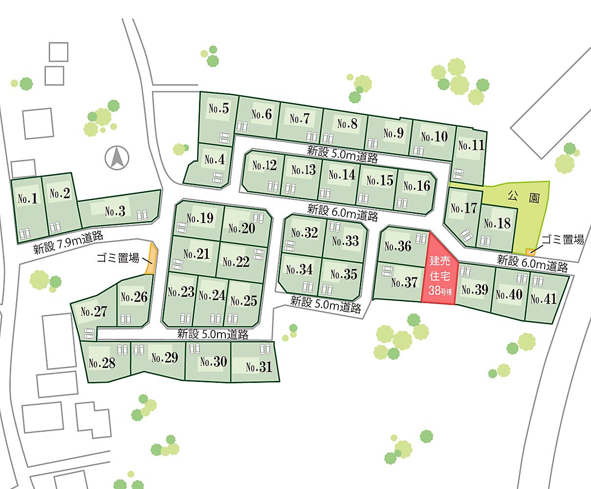 山梨 不動産 建売住宅 甲斐市下今井E38号棟 分譲地 区画図