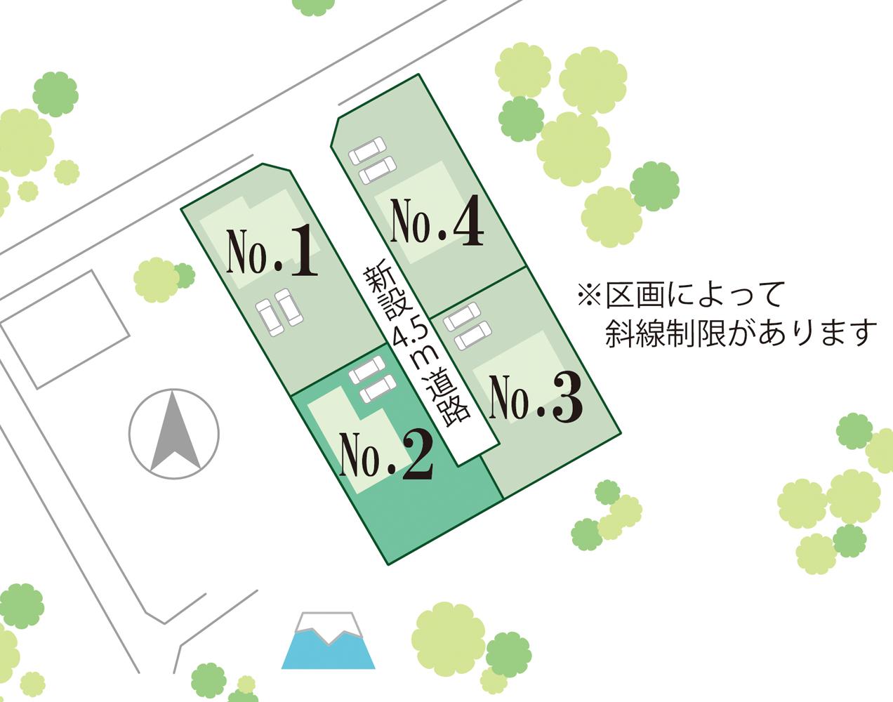 富士河口湖町大嵐 2号棟 全体区画図