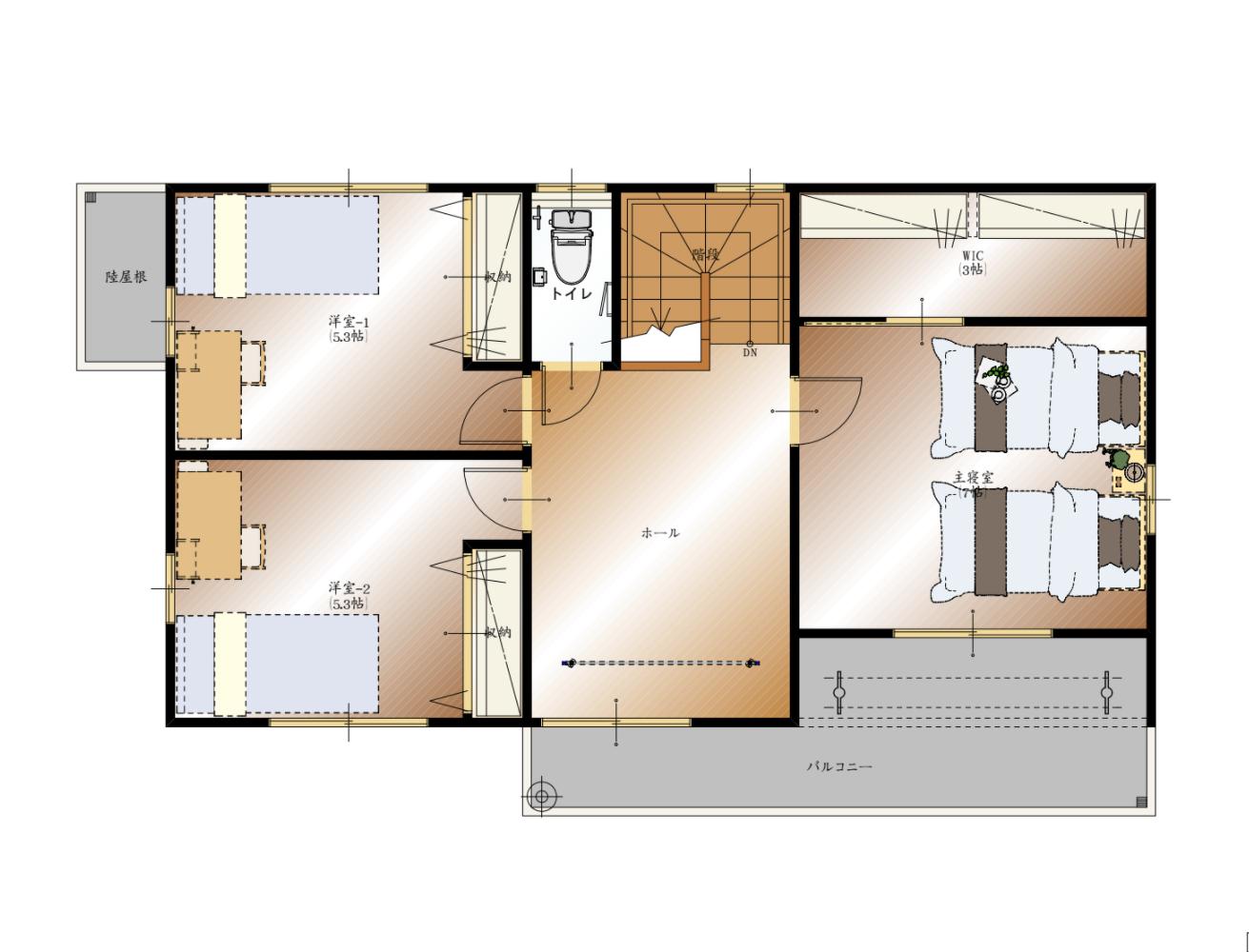 山梨県甲斐市下今井E 19号棟 新築建売住宅 2F 平面図
