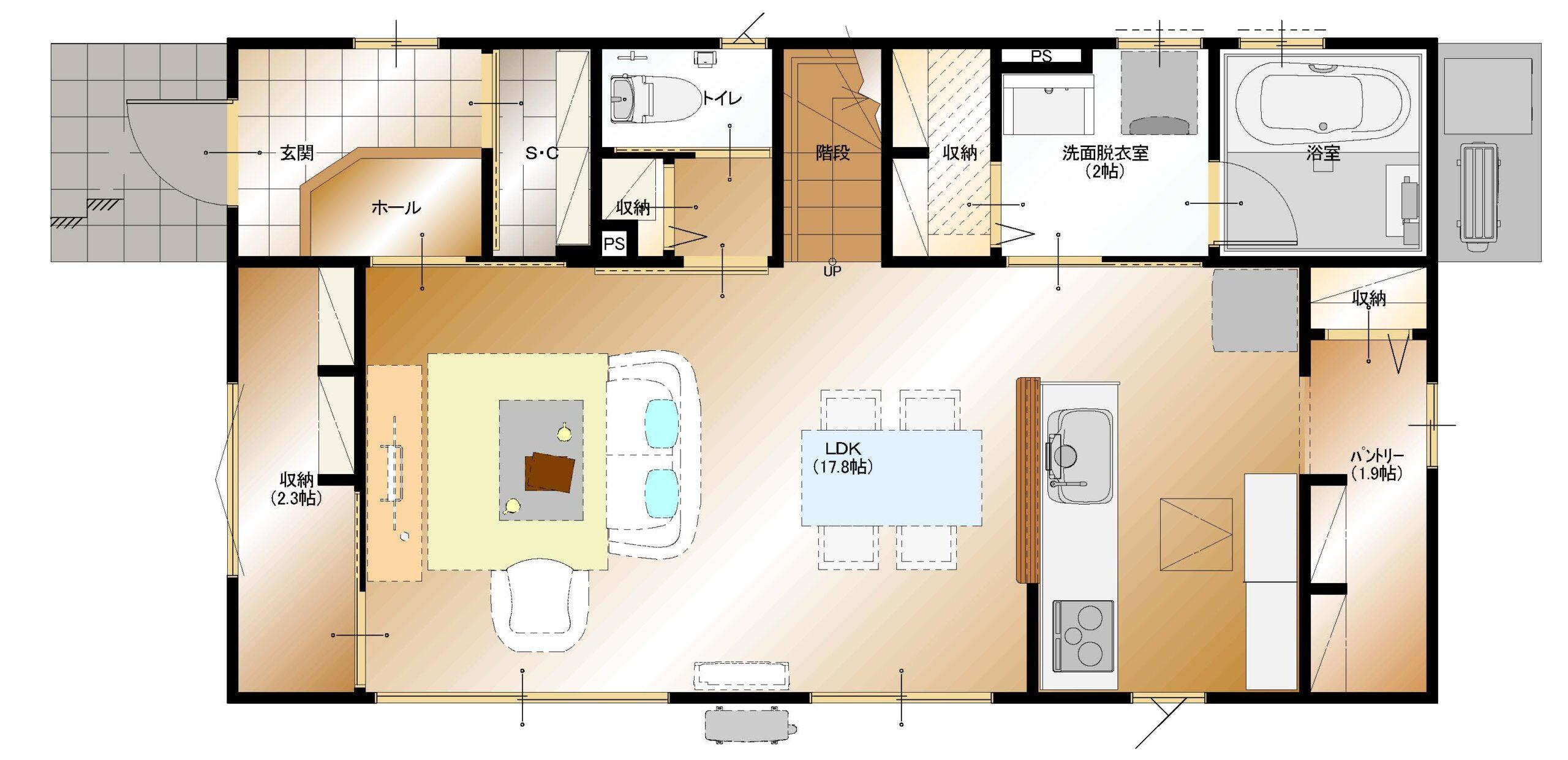 下今井E19棟建売住宅(1F平面図)