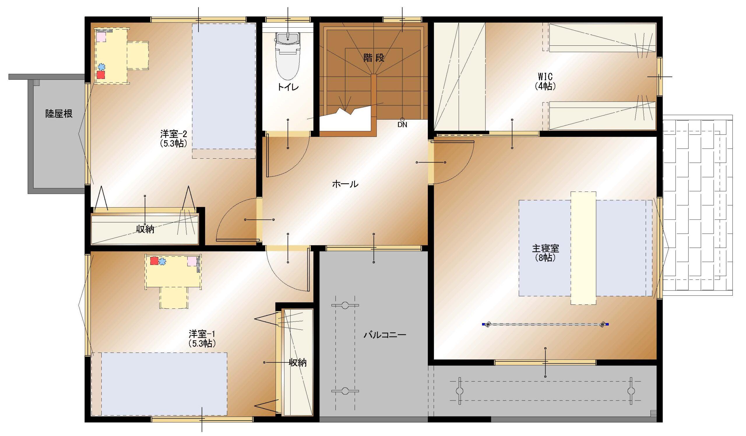 下飯田B-4号棟(2F平面図)