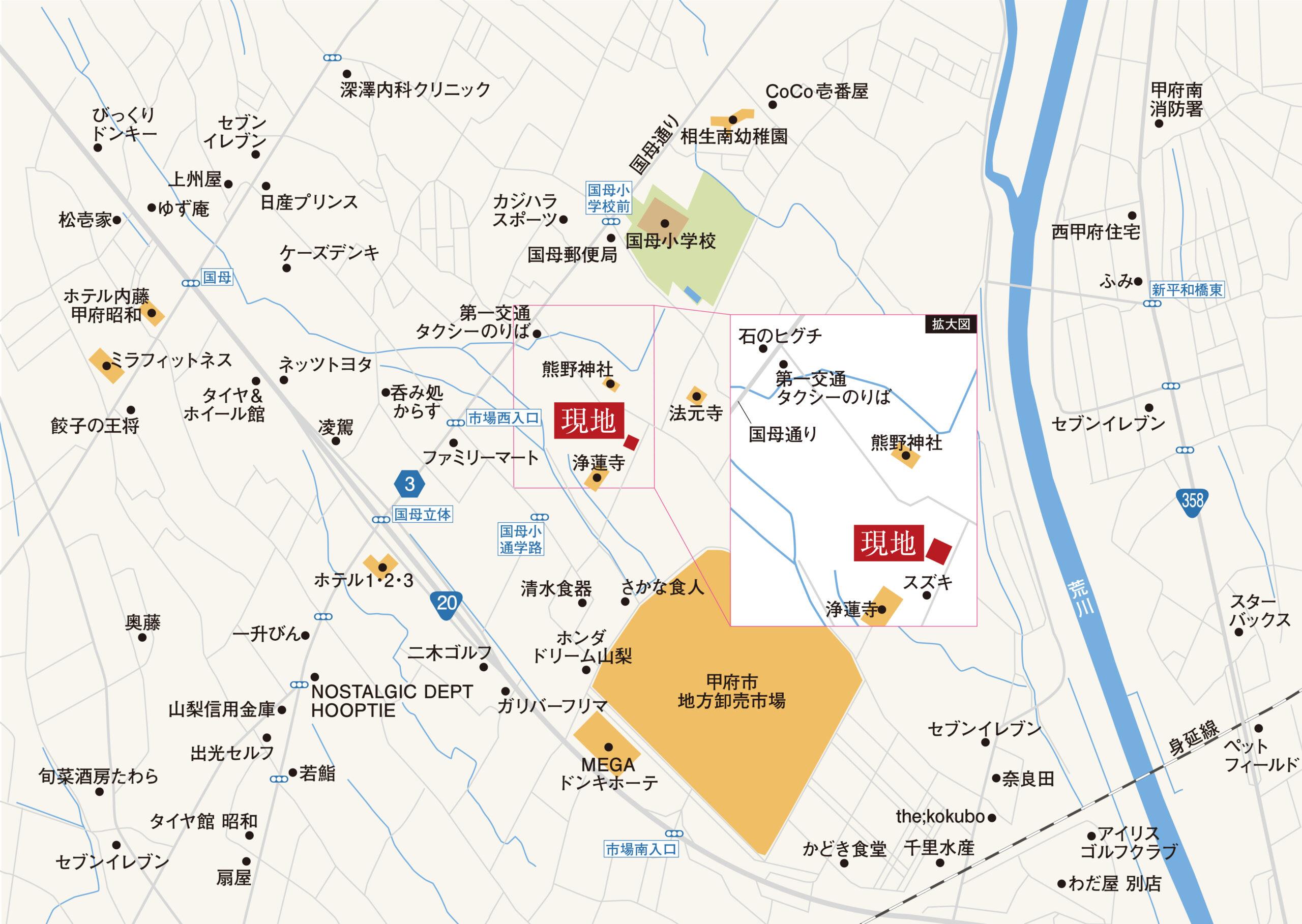 甲府市国母B 地図
